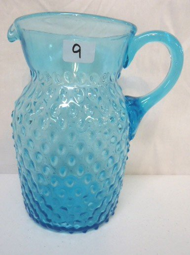9: Blue Hobnail Pitcher w/ Applied Handle