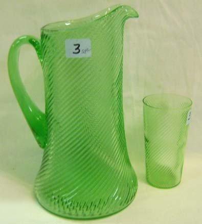 3: Green Swirl Pitcher & Glass