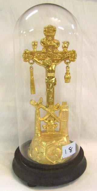 18: Gilt Crucifix Under Glass Dome