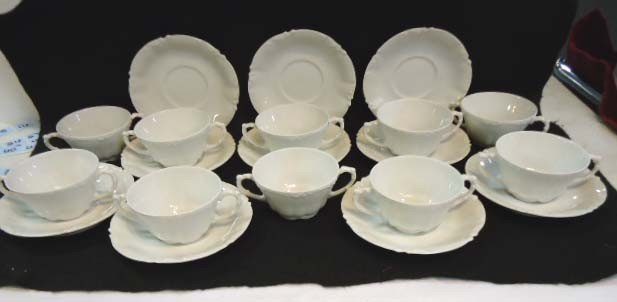 5: Set of 10 JPL Limoges Cream Soups & Saucers