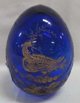 10: Cobalt Egg Cut Glass w/ Gold Décor