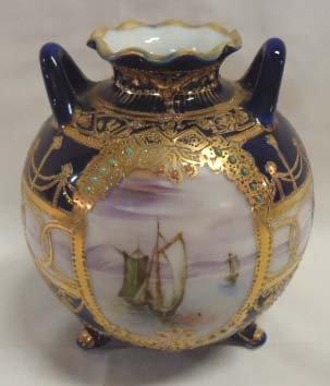 17: HP Nippon Vase, Cobalt w/ Gold & Enameling