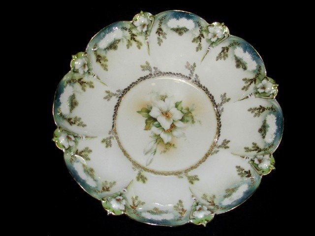 2: Red Star R.S. Prussia Floral Decorated Bowl