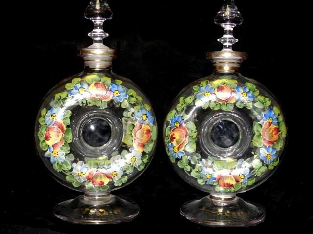 10: Pair Of Bohemian Round Decanters On Pedestals,