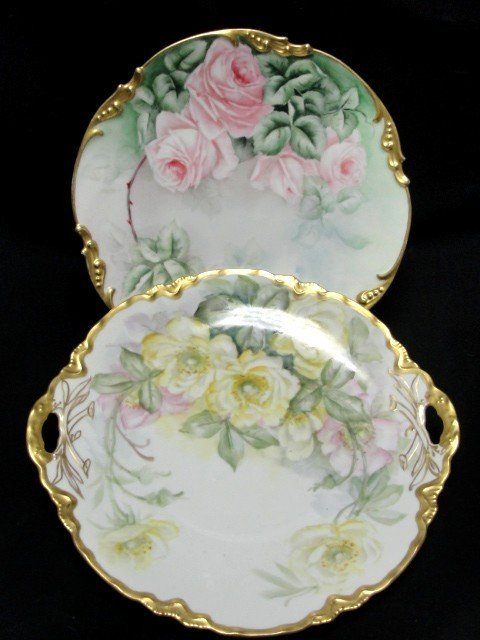 18: Pair Of Hand Painted Floral Decorated Plates