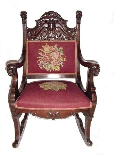 21: Acanthus Figural Carved Needlepoint Rocker