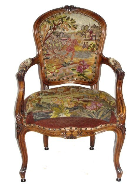 54: Fine French Needlepoint Ladies Chair ca. 1920's