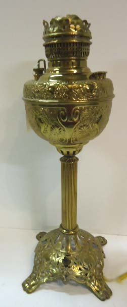 77: The Meteor Lamp Brass Banquet Lamp, Electrified
