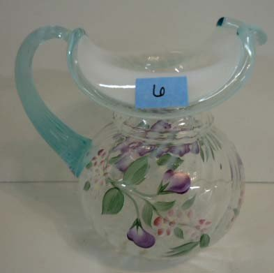"6: Fenton Pitcher French Opalescent, ""Martha's Rose"""