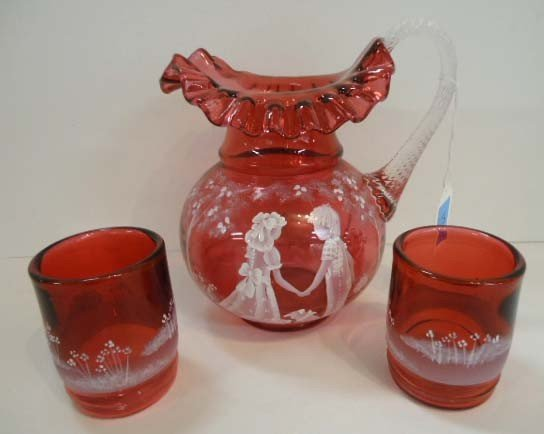10: Fenton 3 Pc. Water Set, Mary Gregory on Cranberry