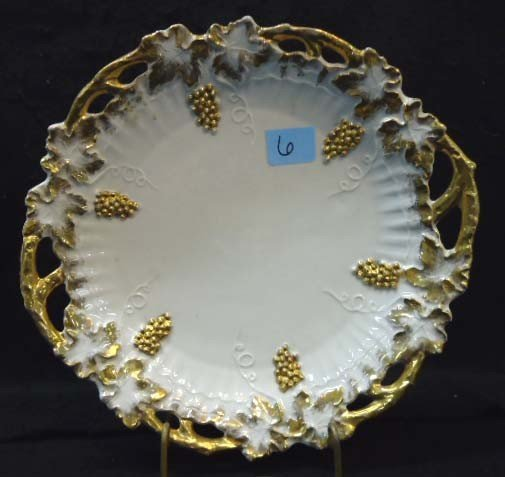 6: Porcelain Grape Plate with Gold Enameling