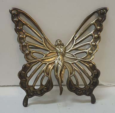 59: Sterling Silver Art Nouveau Nude Butterfly Pin by L
