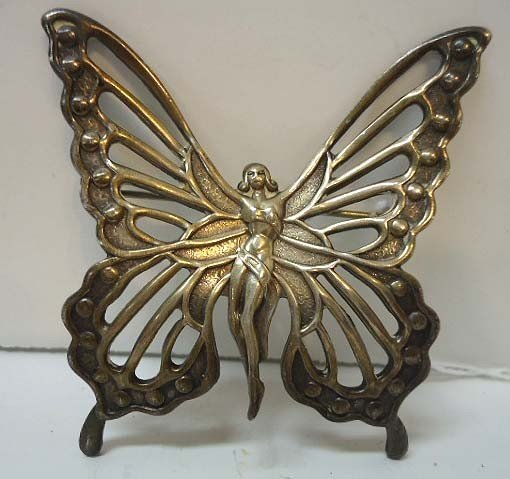 59: Sterling Silver Art Nouveau Nude Butterfly Pin by L - 2