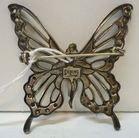 59: Sterling Silver Art Nouveau Nude Butterfly Pin by L - 3