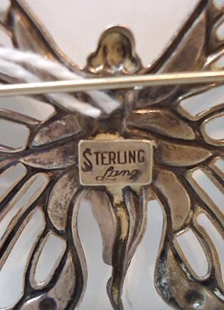 59: Sterling Silver Art Nouveau Nude Butterfly Pin by L - 4