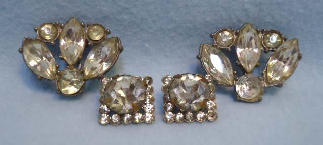 2: 2 Pr Rhinestone JewelryTwin Pins