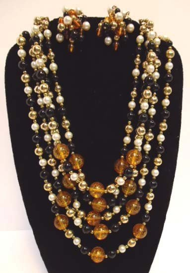 5: 5 Strand Multicolor Necklace & Earrings