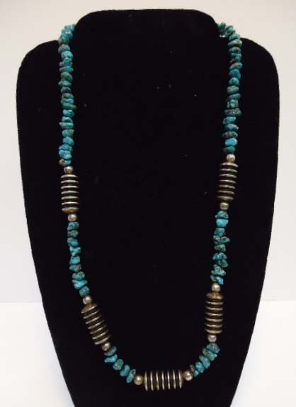 7: Nugget Turquoise & Silver Necklace