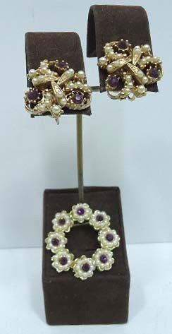 9: Purple Rhinestone & Pearl Brooch & Earring Set