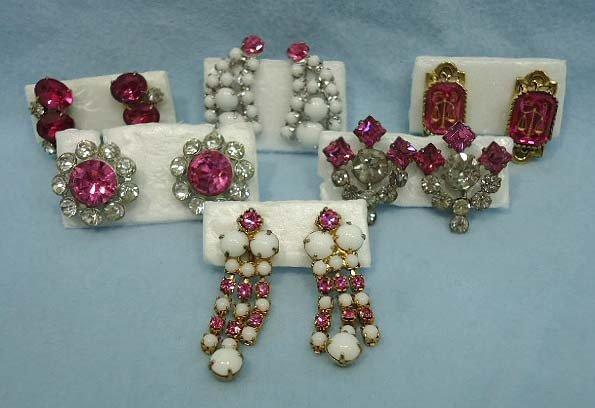 13: 6 Pr Pink Rhinestone Earrings