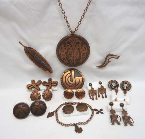 24: 14 Pc. Copper Indian Theme Jewelry