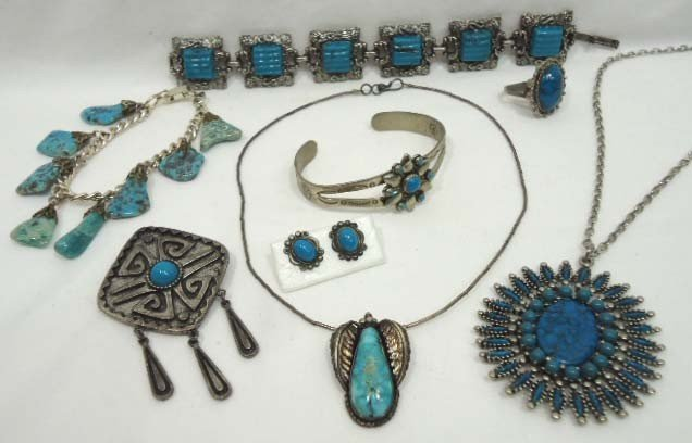 75: 8 Pc. Turquoise Jewelry Lot