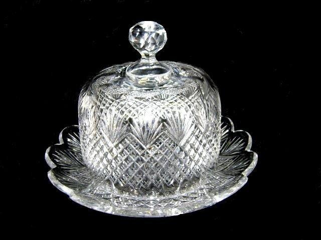 1: American Brilliant Cut Glass Cheese Dome