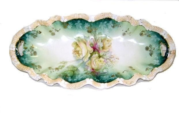 7: RS Prussia Hand Painted Celery Dish With Roses