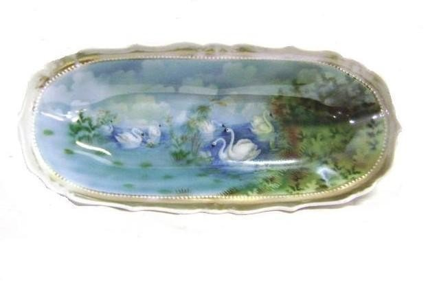 9: RS Prussia Celery Dish With SwansIn Lake