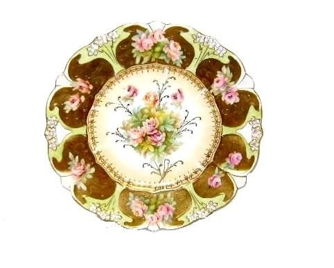 11: RS Prussia Cake Plate With Gold And Pink Roses