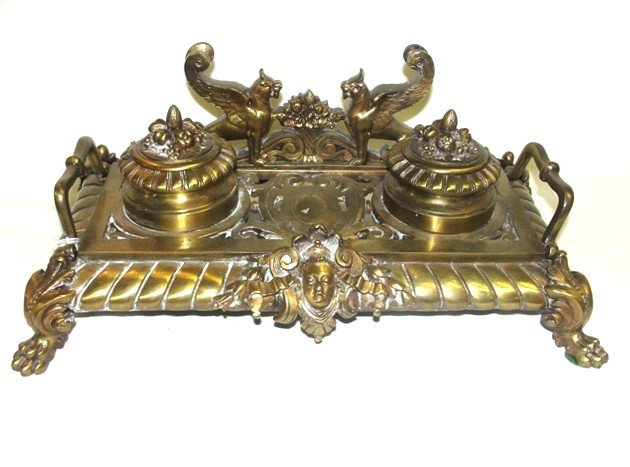12: Victorian Inkwell With Sitting Wing Griffins