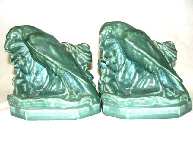 14: Pair Of Rookwood Bookends Of Rooks Ca.1943