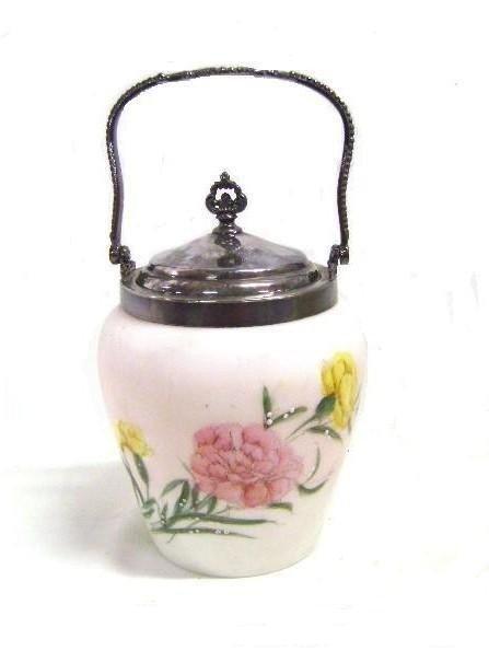 17: Victorian Enameled Satin Glass Biscuit Barrel