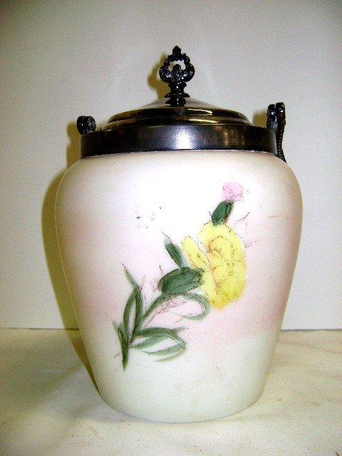 17: Victorian Enameled Satin Glass Biscuit Barrel - 2