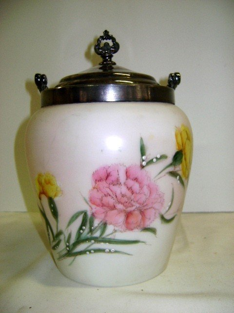17: Victorian Enameled Satin Glass Biscuit Barrel - 3