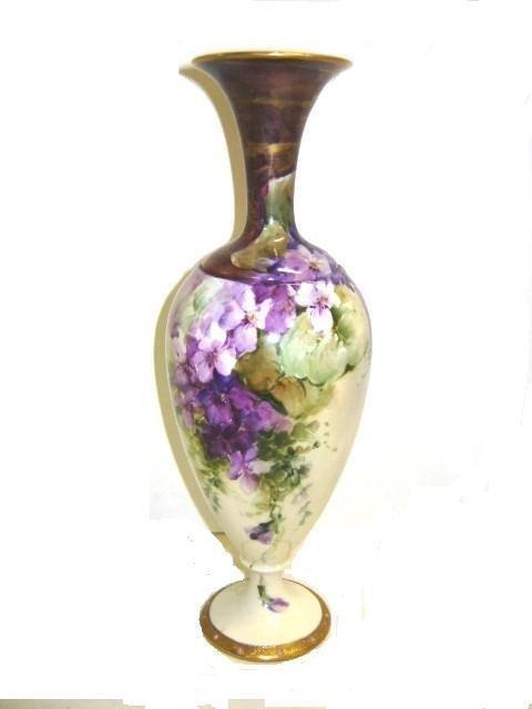 18: American Belleek Hand Painted Decorated Vase
