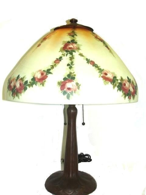 24: Reverse Hand Painted Handel Lamp With Swag