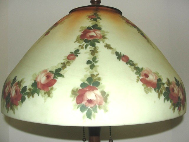24: Reverse Hand Painted Handel Lamp With Swag - 3