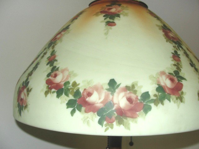 24: Reverse Hand Painted Handel Lamp With Swag - 4