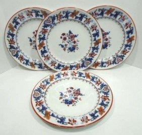 4 Flow Blue Polycrome Plates