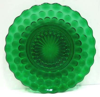 305: 14pc Forest Green Bubble Depression Glass - 2
