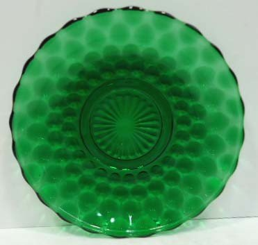 305: 14pc Forest Green Bubble Depression Glass - 3