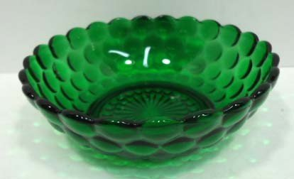 305: 14pc Forest Green Bubble Depression Glass - 4