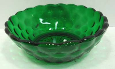 305: 14pc Forest Green Bubble Depression Glass - 5