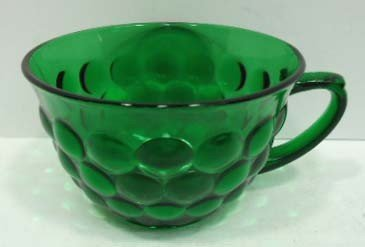 305: 14pc Forest Green Bubble Depression Glass - 6