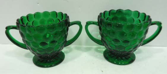 305: 14pc Forest Green Bubble Depression Glass - 7