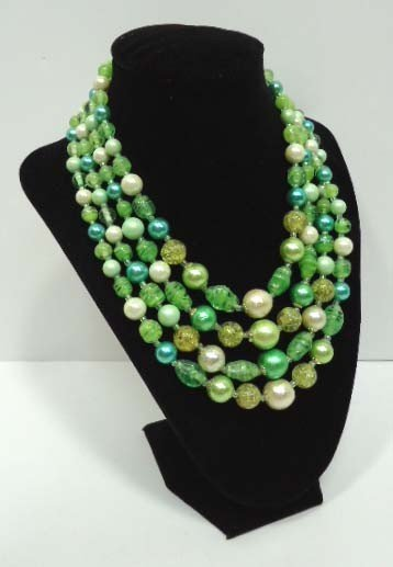 2: Green Vintage Art Glass & Lucite Necklace