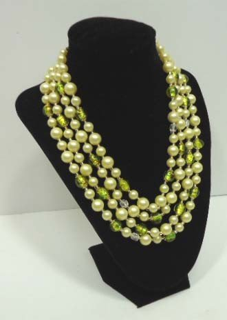 7: Vintage Foiled Glass Bead Yellow Necklace