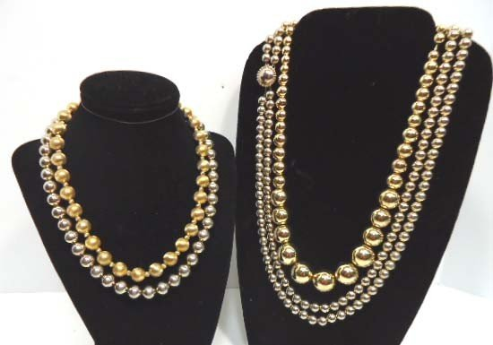298: 4 Vtg. Gold Bead on Chain Necklace