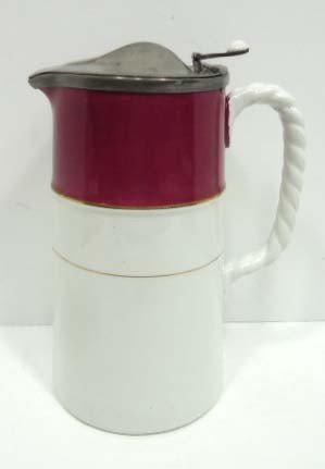 11: Early Pitcher W/Hinged Pewter Lid